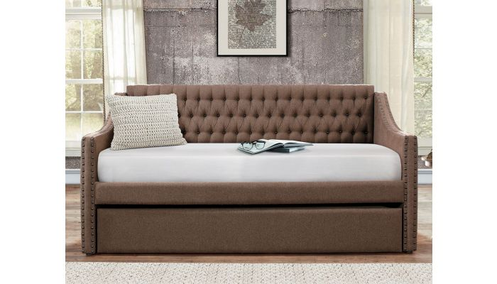 Nadine Brown Fabric Day Bed Set