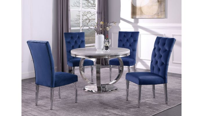 Naple Round Faux Marble Dining Table