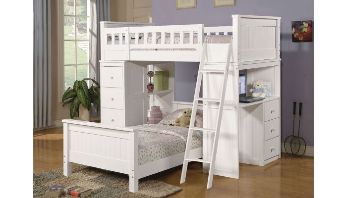 Nebo White Loft Bed With Drawers