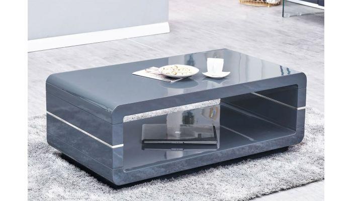 Nella Modern Coffee Table Gray Lacquer