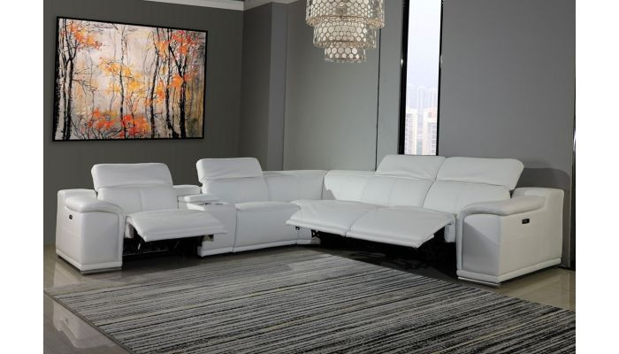 Nevio White Leather Power Recliner Sectional