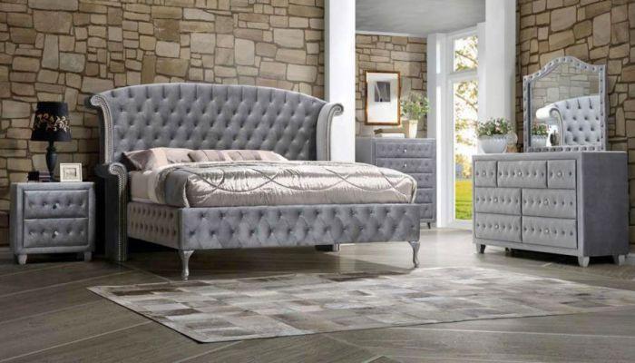 New York Grey Velvet Upholstered Bed