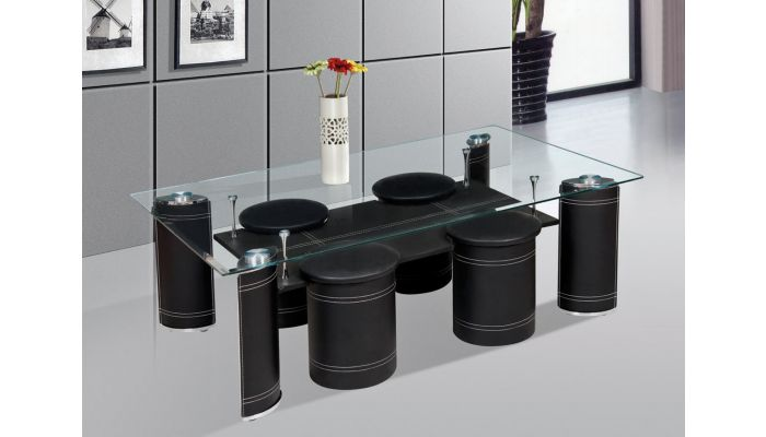 Nia Black Coffee Table With Stools