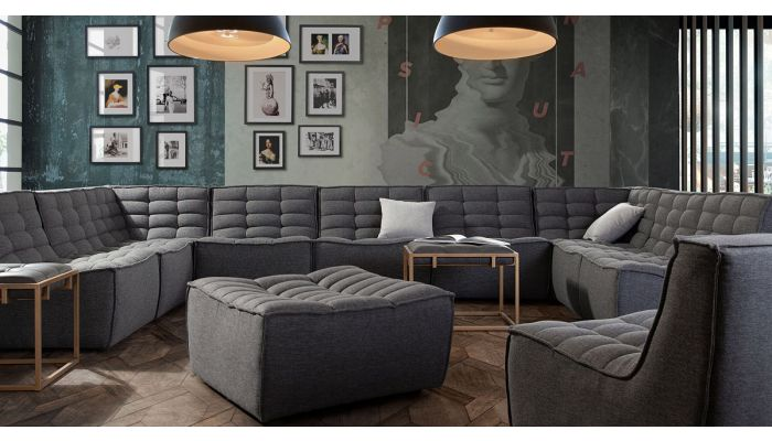 Nolden Grey Fabric Modern Sectional