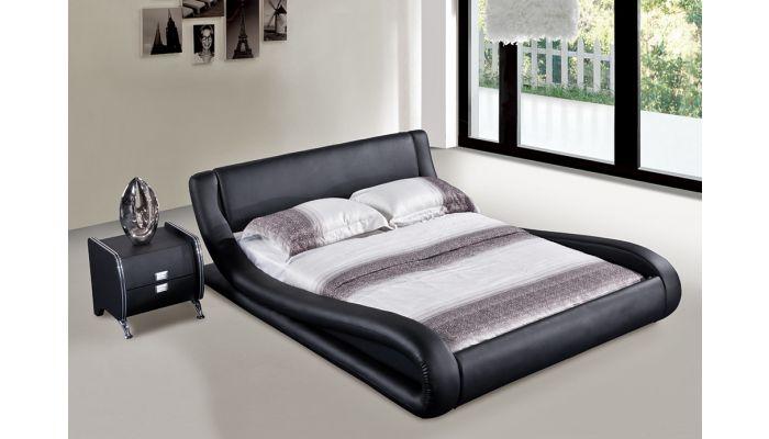 watch 81aca 3b2ec Oliver Black Leather Platform Bed