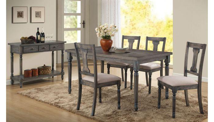 Olivia Weathered Grey Finish Table Set