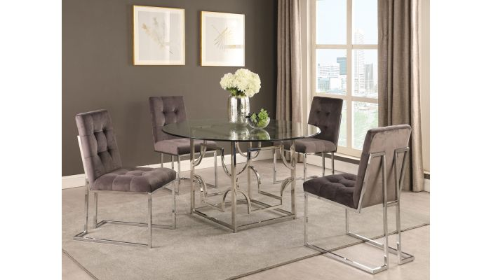Orchid Modern Round Glass Dining Table Set