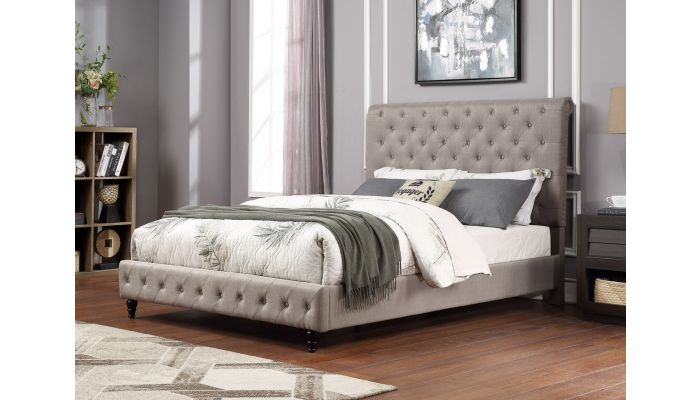 Orsen Grey Linen Upholstered Bed