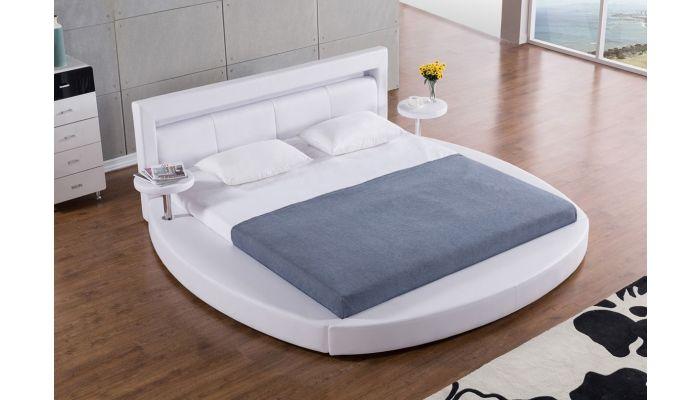 Palazzo White Round Platform Bed, Round Queen Size Bed