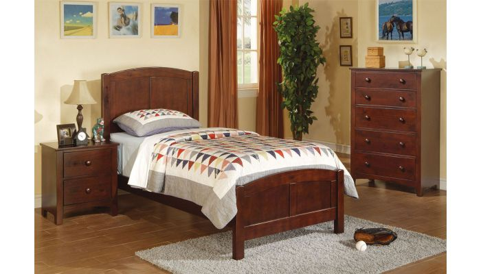Paskal Youth Wooden Bed Walnut Finish