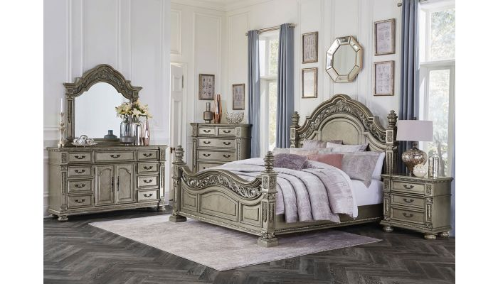 Pecardo Platinum Gold Bedroom Collection