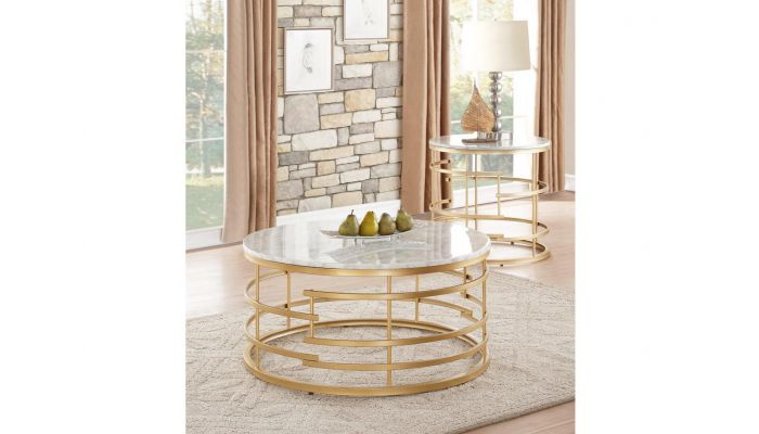 Pfifer Round Marble Top Coffee Table