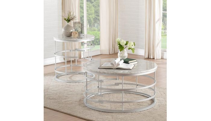Pfifer Silver Finish Round Coffee Table