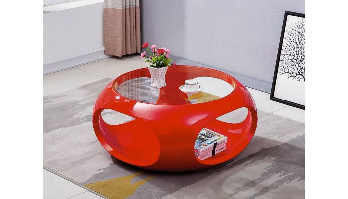 Planet Red Lacquer Coffee Table