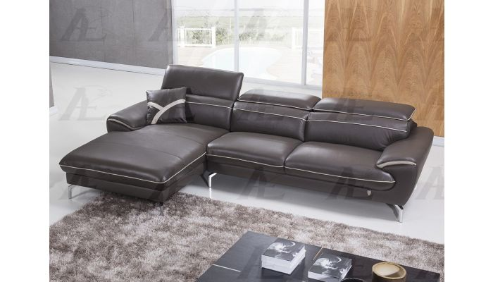 Prescot Brown Leather Modern Sectional