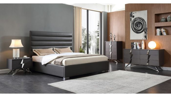 Prince Grey Leather Bedroom Set