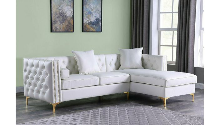 Ramiro White Sectional With Gold Accents