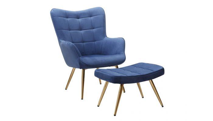 Rana Blue Velvet Accent Chair Set