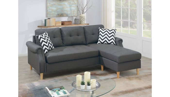 Randa Grey Linen Reversible Sectional
