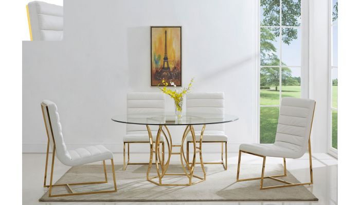 Regal Gold Finish Round Dining Table