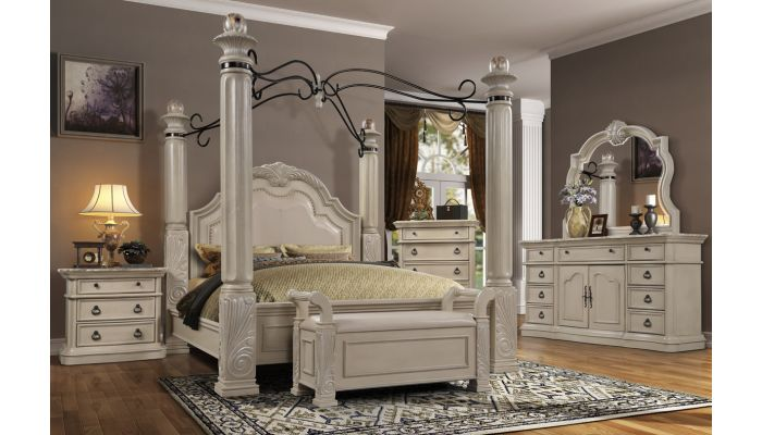 Remo Antique White Finish Poster Bed