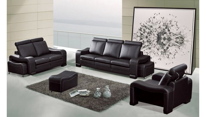 Rene Contemporary Black Leather Sofa