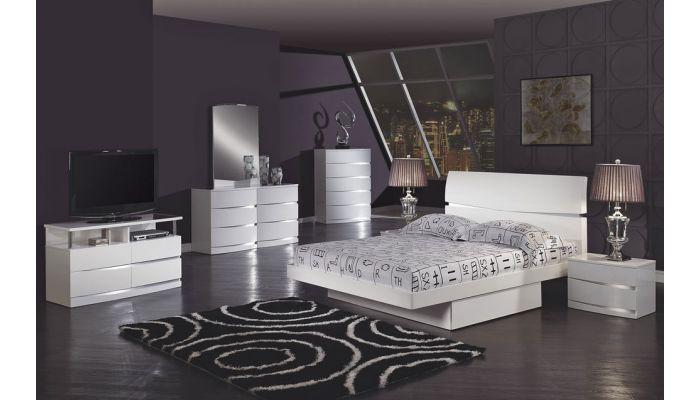 Renzo White Glossy Modern Storage Bed