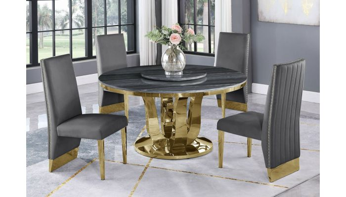 Reyna Grey Marble Dining Table Gold Base