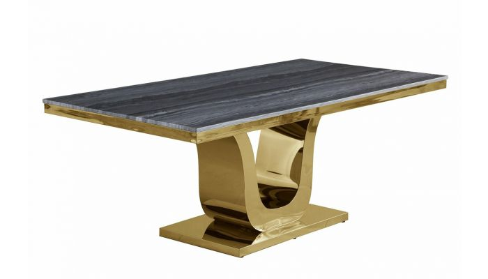Reyna Marble Top Dining Table Gold Base