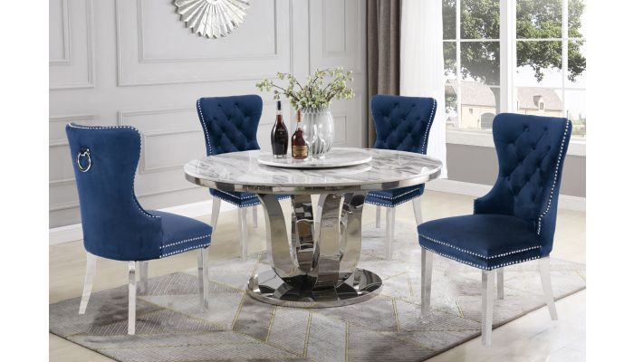 Reyna Round Marble Top Dining Table, Round Marble Dining Table And Chairs