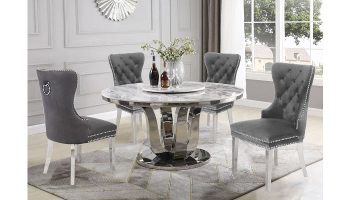 Reyna Round Marble Top Dining Table, Marble Top Table Round