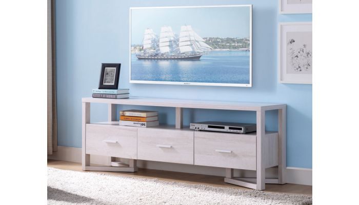 Rhys White Oak TV Stand With Drawers