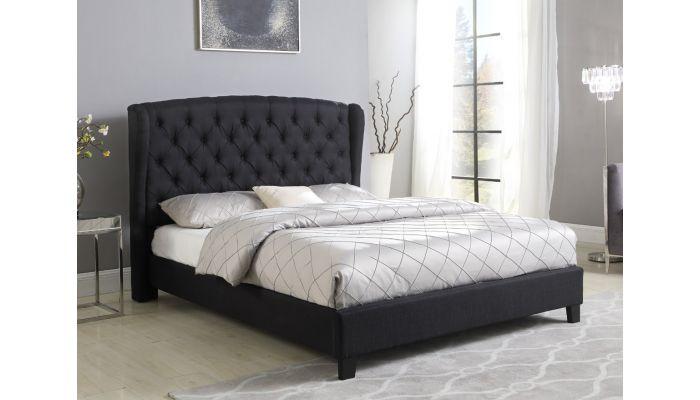 Richmond Black Linen Winged Bed