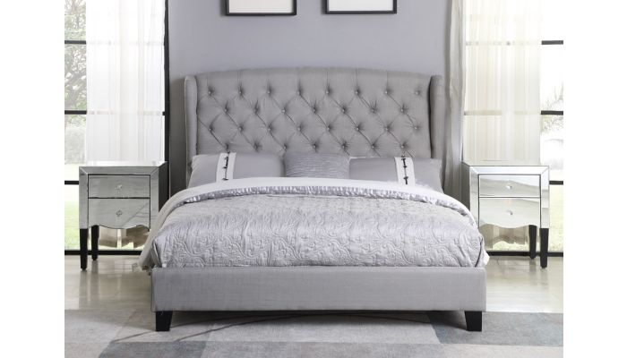 Richmond Tufted Grey Linen Bed