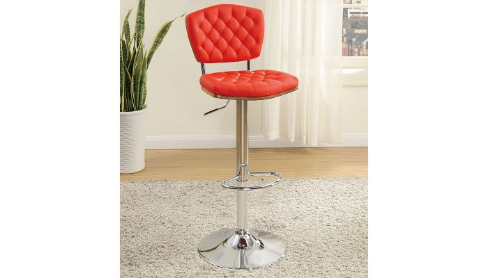 Riga Red Tufted Leather Bar Stool Set of 2