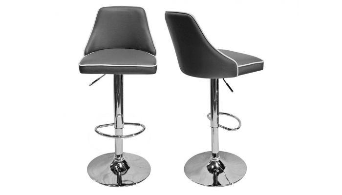 Riya Grey Leather Barstool Set of 2