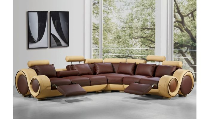 Rodeo Brown and Beige Leather Sectional