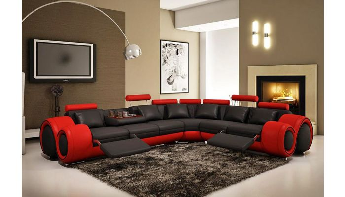 Rodeo Black and Red Modern Sectional,Rodeo Sectional Dimentions