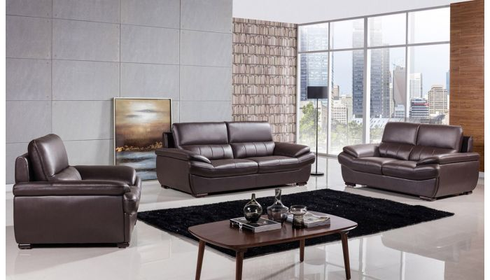 Rogelio Chocolate Genuine Leather Sofa