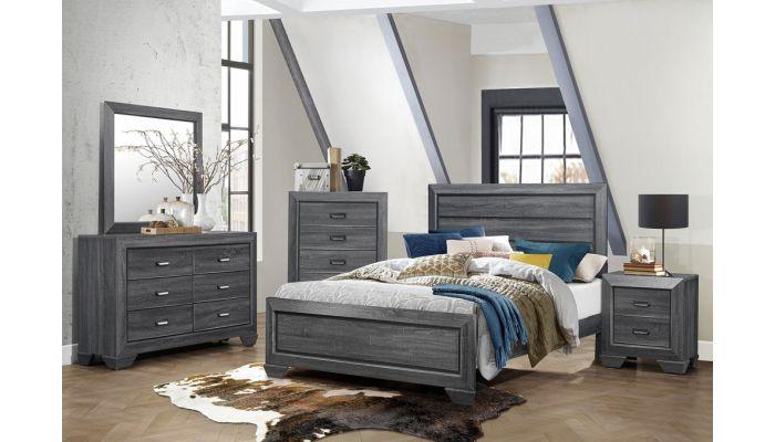 Rollan Rustic Grey Modern Bed