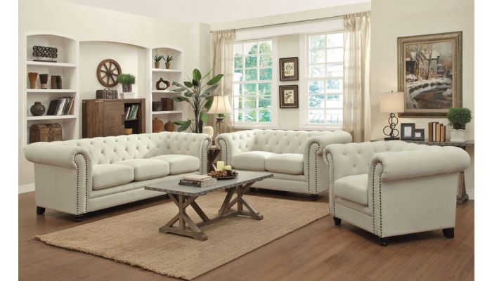 Rolyn Button Tufted Fabric Sofa