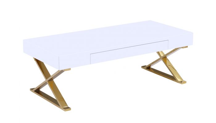 Roreti White Coffee Table Gold Legs