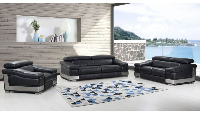 Rosetta Black Italian Leather Living Room