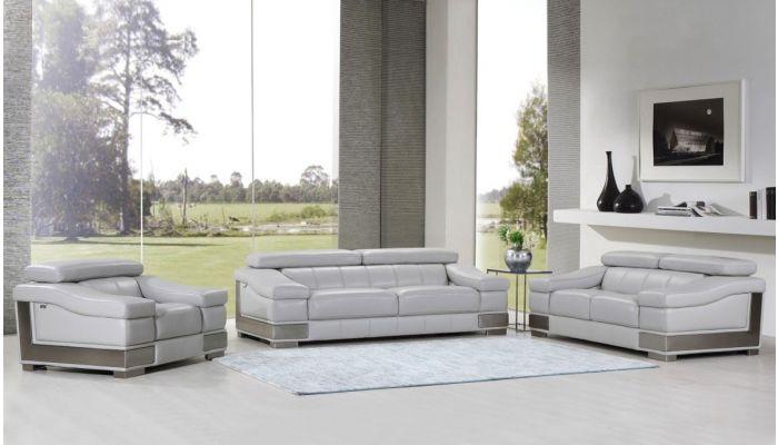 Rosetta Genuine Leather Sofa Light Gray