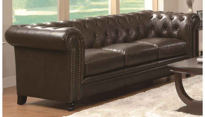 Roy Button Tufted Classic Leather Sofa