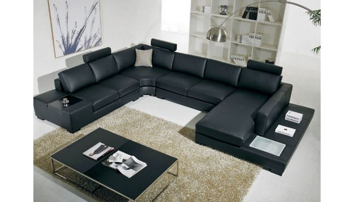 Rylie Modern Black Sectional With Light