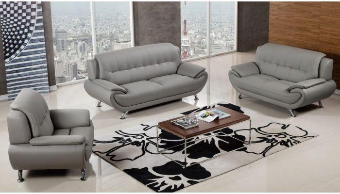 Sabina Modern Grey Leather Living Room