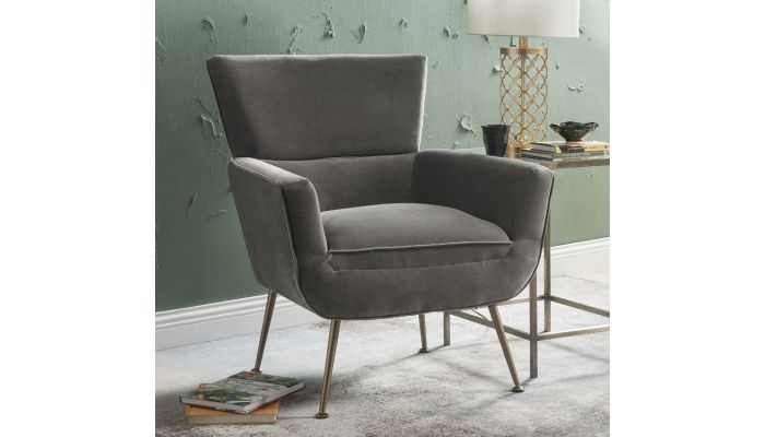 Sabrina Accent Chair Brass Legs