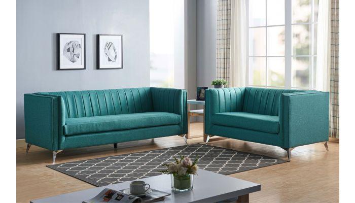 Samira Turquoise Fabric Sofa Set