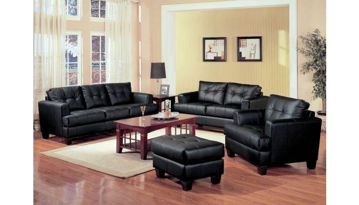 Samuel Black Leather Sofa Collection